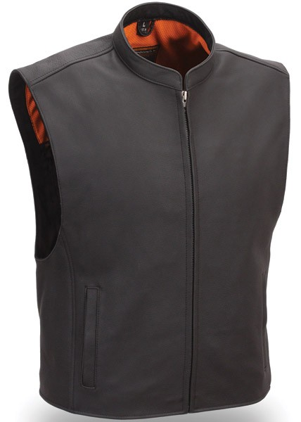 First Manufacturing Men's Zip Front Club Patch Leather Vest FIM656CSL