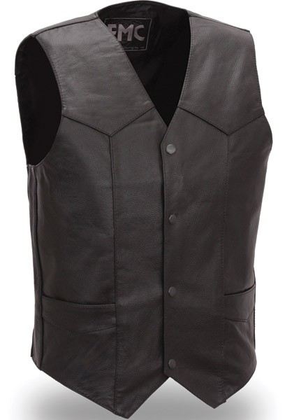 Men's Classic Four Snap Leather Vest