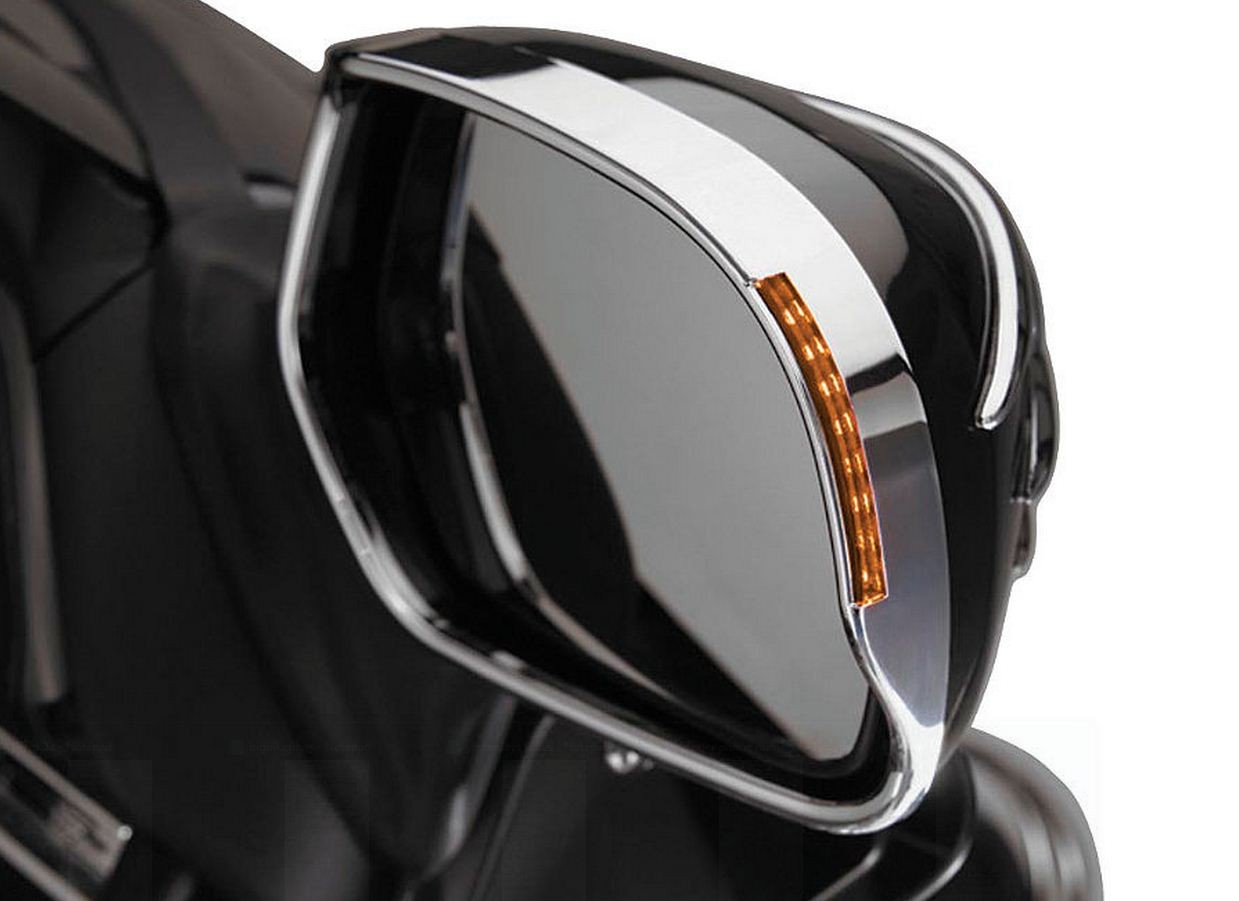 VISORED MIRROR TRIM With Amber LED's Turnsignal For Honda GL1800 Goldwing 2001-05