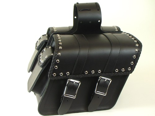 SB35BRPS Slant Saddlebags with studs, braid, quick clips, and pouch