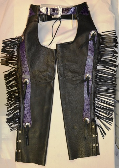 Chaps Python Skin Purple with Conchos