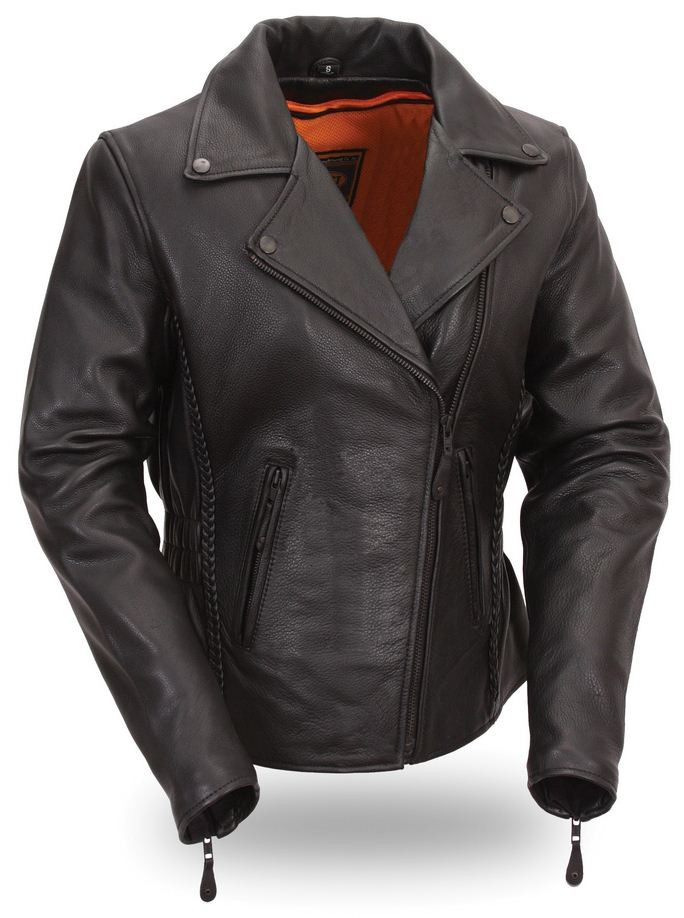 First Classics Women's Blacked Out Hourglass Leather Motorcycle Jacket FIL103