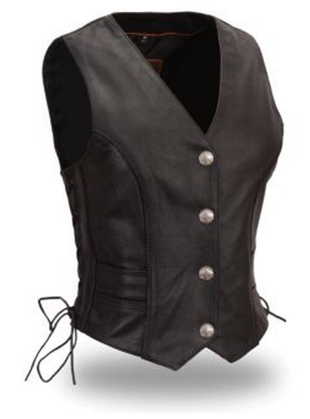 Ladies Braided Buffalo Nickel Leather Motorcycle Vest