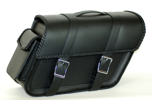 SB140BR Extra wide slant bolt on saddlebags with H&LE pouch