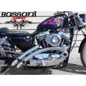 BASSANI - Radial Sweepers For 1986-2003 Sportsters,Chrome With Chrome Heat Shields