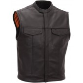 Men's Scooter Style Leather Vest FIM640CSL