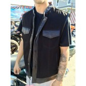 Ball Peen Hammer Black Denim and Leather Club Vest