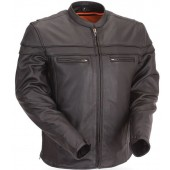 First Manufacturing Men's Sporty Leather Scooter Jacket FIM262NTCZ