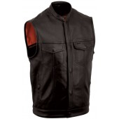 Men's One Panel Leather Concealment Vest FIM680NOC