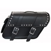 SB140BRS Extra wide slant bolt on saddlebags with studs, H&LE, and pouch