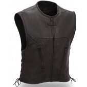 Mens Black Leather Urban Motorcycle Vest Side Lace Single Back Panel